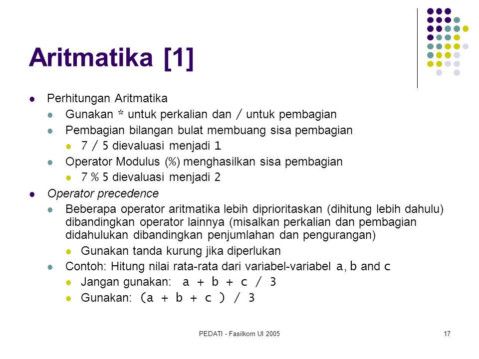 Aritmatika [1] Perhitungan Aritmatika